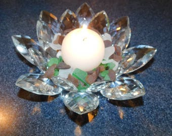 Beautiful crystal blossom filled with Fresh Picked Lake Michigan Beach Glass