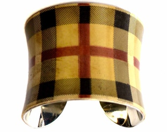 Vintage Plaid Patent Leather Cuff Bracelet - by UNEARTHED