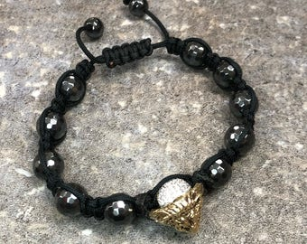 Handmade Woven Bracelet with Yellow Gold Lion's Head and Black Onyx and Crystal Beads