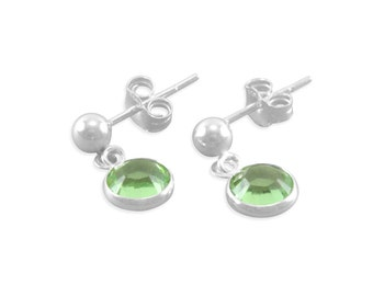 Little Girls Earrings, Sterling Silver, peridot, light green, birthday jewelry, small studs, tiny dangles, ball posts, young girl present