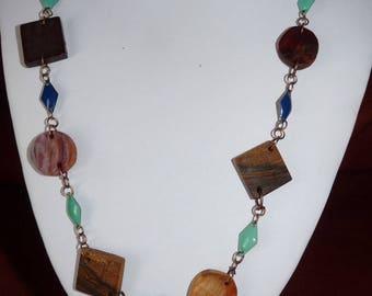 Precious wooden Necklace: Ocean