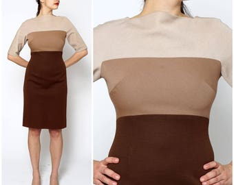 Vintage 1960's Short Sleeved Tan And Brown Color-Blocked Fitted Wiggle Dress by Weber and Frank | Medium