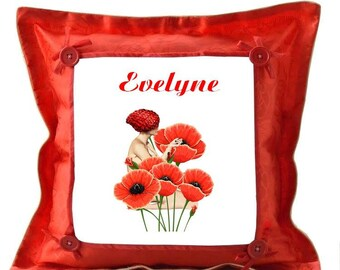 Personalized with name poppy red cushion