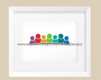 Clip Art to Print or Web,  Children Nursery, Together People, Logo, Group of 7 People, Graphic for a Friendship, Teamwork, Social Network,