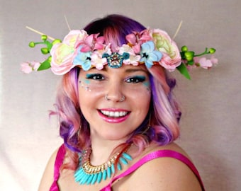 Blue Star Anemone Flower Crown, Queen Crown, Faerie Crown, Wedding Crown, Festival Crown, Everyday Fabulous Crown