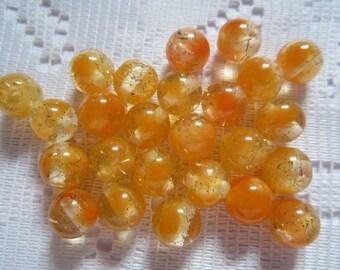 26  Tangerine Orange & Clear Sparkle Glitter Round Acrylic Beads  9mm