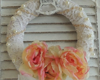 Shabby Wreath, Door Wreath, Shabby Chic Wreath, Vintage Inspired French Paris Bedroom Decor Decoration, Birthday Gift, Spring Floral Wreath