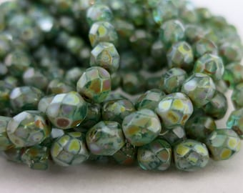 6mm Verdigris Picasso Czech Glass Beads, Boho Tribal Beads,Faceted Beads,  Full Strand 25 Beads, Ready to Ship