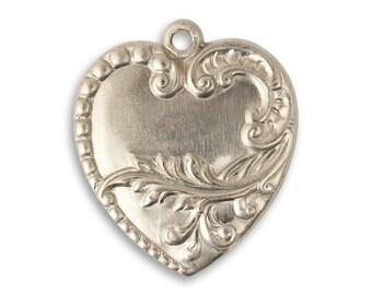 1 Piece Branching Heart Pewter Charm 28x24mm Vintaj Artisan Pewter PT018
