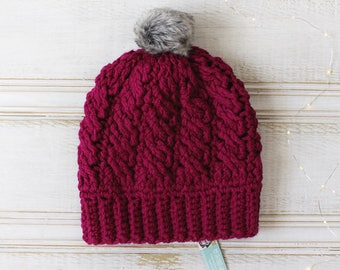 Chunky Crochet Cable Beanie in Boysenberry, Faux Fur Pompom, Purple Pink, Ready to ship, Crochet Hat, Warm Winter Hat, Women's Toque