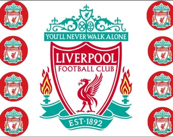 liverpool cake topper edible with 8 cupcake toppers