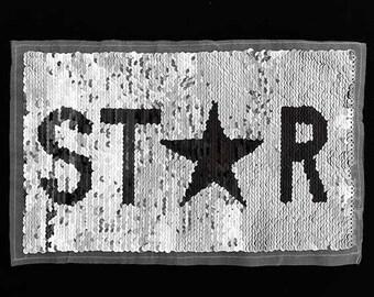 "Star Reversible flip Sequin Patch Applique by pc, 9-1/2""x5-3/4"", Black/Silver, TR-11663"
