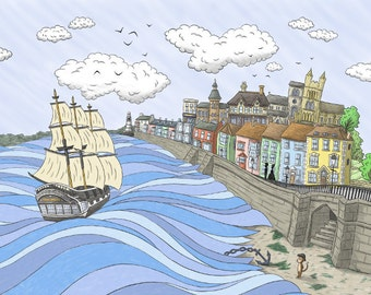 Historic Hartlepool art print in A2 size- celebrating HMS Trincomalee - From Seaham England