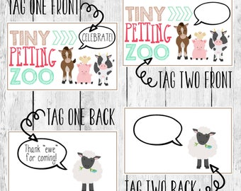 Farm Party Gift Labels/ Barnyard Animal Birthday Favor/ DIY Printable Goodie Goody Bag Tag/ Treat Topper/ Old MacDonald/ Instant Download