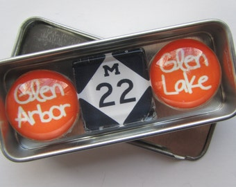 GLEN ARBOR, Up North Michigan, Leelanau, Sleeping Bear, Glen Lake, Leland, M22, Michigan, Fridge Magnets, Refrigerator Magnets, Michigan