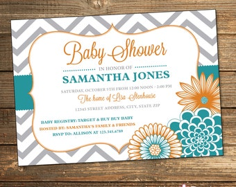 Boy Baby Shower Invitation, Chevron, Orange, Teal, Printable File (INSTANT DOWNLOAD)
