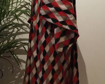 Vintage red black and cream checked kimono