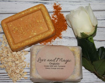 Organic Goats Milk with Sweet Orange and Oats Body Soap for dry senstive skin  2- 3oz for 7.00 smells like Starburst Candy