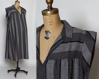 vintage 70s striped maternity dress | tweed black and gray plus size tent dress