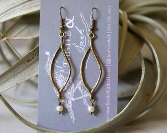 Twisted branch earrings in antique gold