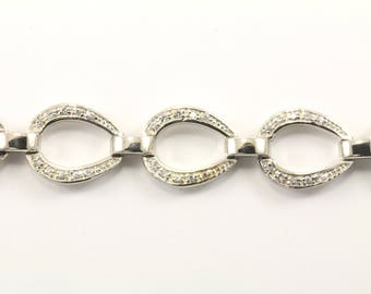 Vintage CZ Link Bracelet Sterling Silver BR 1986