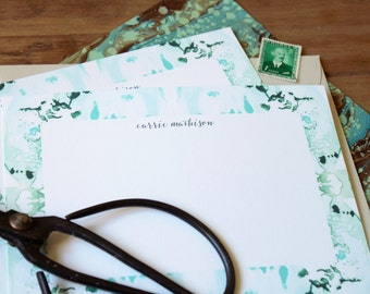 Custom Luxe Stationery / Flat Notes / Tiled Marble Pattern Aqua and Greens - Set (10) / A7 Size