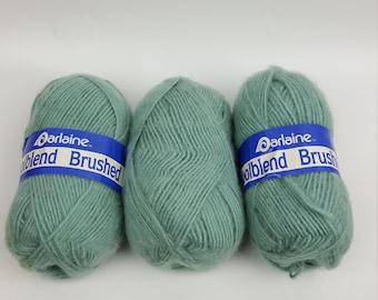 Vintage Darlaine Woolblend Brushed yarn seafoam green 3 skeins