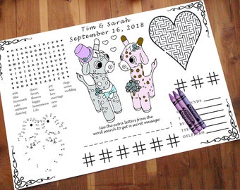 Giraffe Activity Page PDF. You Print. Custom, Your Names & Date. Coloring, Maze, Connect the Dot, Tic Tac Toe. Word Search