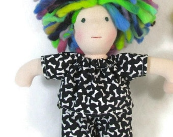 8 in Waldorf pajamas in black and white bones print for thin doll, ready to ship doll pajamas