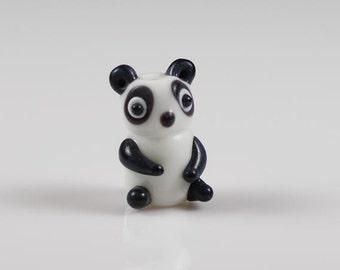 Set of 6 Panda Beads Lampwork Glass Black and White Panda Bear Bead