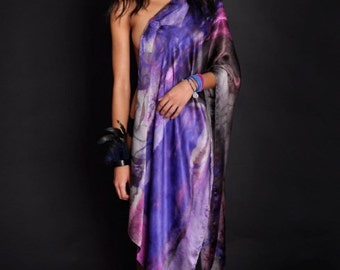 Art scarf silk purple/grey