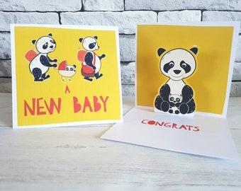 New Born Baby Card, Handmade Baby Card, Cute Baby Card, Gender Neutral Baby Card, Baby Shower Card, Yellow Baby Card, Panda Bear Card