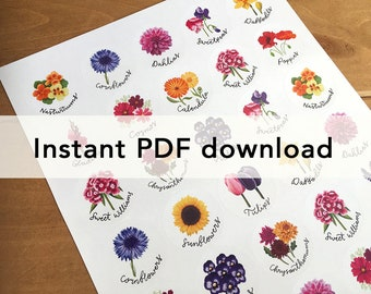 Pdf file of flowers sticker sheet, for home printing. For circular stickers on A4 and US letter.