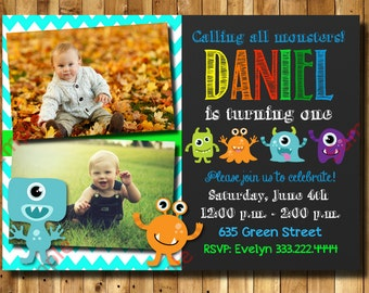 Monster Birthday Invitation 1st, 2nd, 3rd Any Age Birthday - Monster Invitation Digital File
