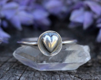 Sterling Silver Stacking Ring Heart Ring Sterling Silver Stacking Rings Stackable Rings for Women Sterling Silver Ring Silver Rings Heart
