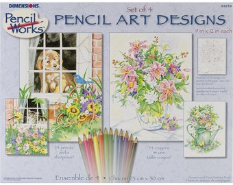 "Pencil Color By Number Kit 9""X12"" 4/Pkg- Floral Scenes"