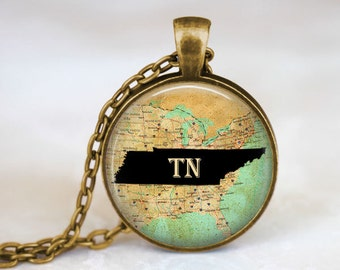 TN Necklace - Tennessee State Necklace • Tennessee Jewelry • Tennessee Art Pendant • State Necklace • State Jewelry • Custom State Necklace