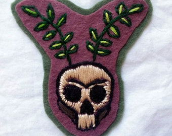 Sprouting Skull  Hand Embroidered Patch - leafy branches renewal, death, rebirth, green magic, Goth fashion, witchy patch