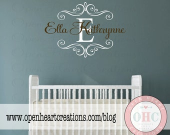 Baby Initial and Name Nursery Decal - Girl or Boy Baby or Teen Personalized Monogram Wall Decal - Shabby Chic fN0559