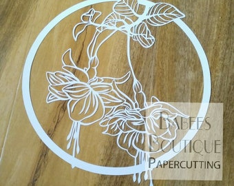 Fuschia Papercutting Template | by Babees Boutique Papercutting | floral template | Personal & Commercial use