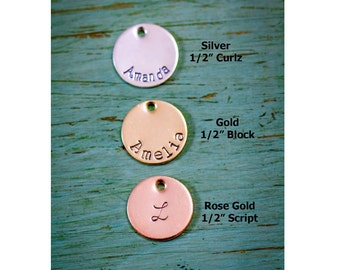 1/2 inch Disc Add-On Sterling Silver Disc • 14K Gold Disc 14K Rose Gold Disc • Personalized Disc Handstamped Disc • Small Charm