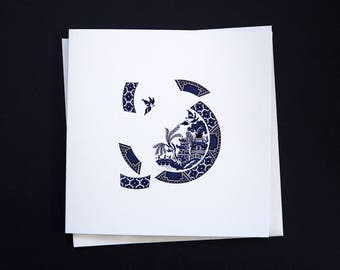 Blue Willow Deconstructed greetings card - a modern twist on the classic Blue Willow design, blue and white willow, unique blue willow