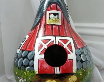 Handpainted Barn Gourd Birdhouse