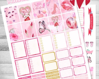 Valentine Planner Stickers, Weekly kit, February, Printable Planner Stickers, use with ECLP, Hearts, Cupcake, Pink, floral Glam, Romantic