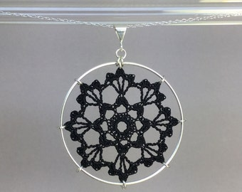 Scallops doily necklace, black silk thread, sterling silver