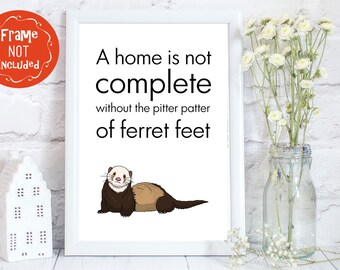 Crazy ferret lady, Ferret print, ferret wall art, ferret room decor, ferret gift, woozle gifts, ferret gifts, woozle gift, PRINT ONLY
