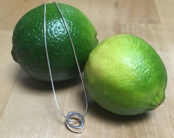 Lime - silver pendant and chain