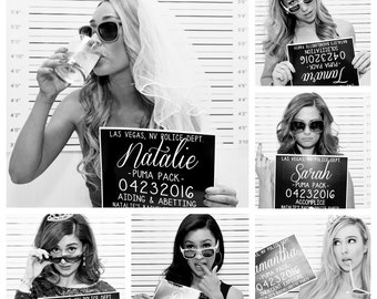 Bachelorette Party Mugshot Signs.  Customized with your girls' information, and your ink color!