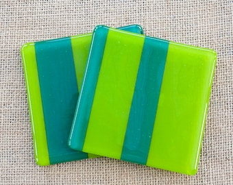 Green Striped Glass drinks coasters colourful bright springtime irregular asymmetrical stripes Mother's Day gift for him her birthday