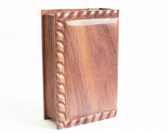Vintage handmade wood box in the shape of a book. Vintage wood book shape box. Trinket box Ditty box